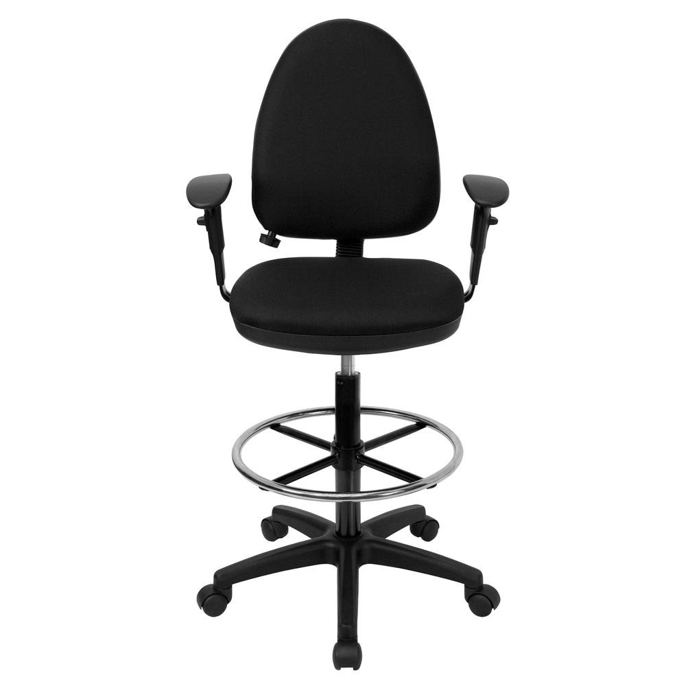 Mid-Back Black Fabric Multifunction Ergonomic Drafting Chair with Adjustable Lumbar Support and Adjustable Arms. Picture 4