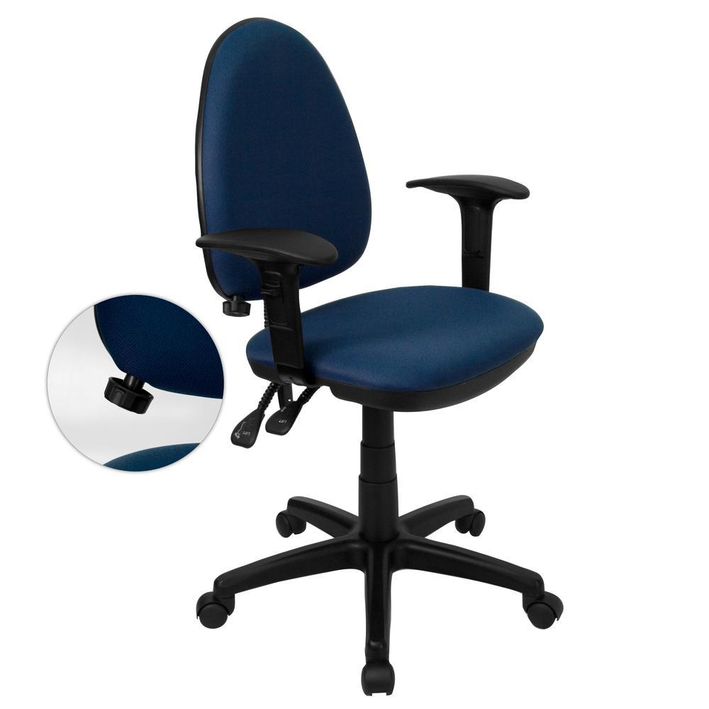Mid Back Navy Blue Fabric Multifunction Swivel Task Chair