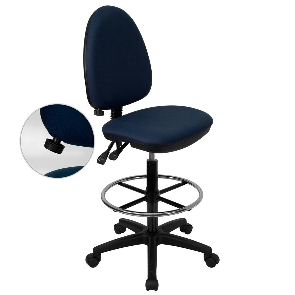 Mid-Back Navy Blue Fabric Multifunction Ergonomic Drafting Chair with Adjustable Lumbar Support. Picture 1