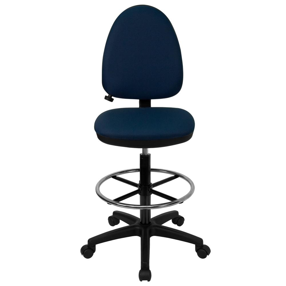 Mid-Back Navy Blue Fabric Multifunction Ergonomic Drafting Chair with Adjustable Lumbar Support. Picture 4