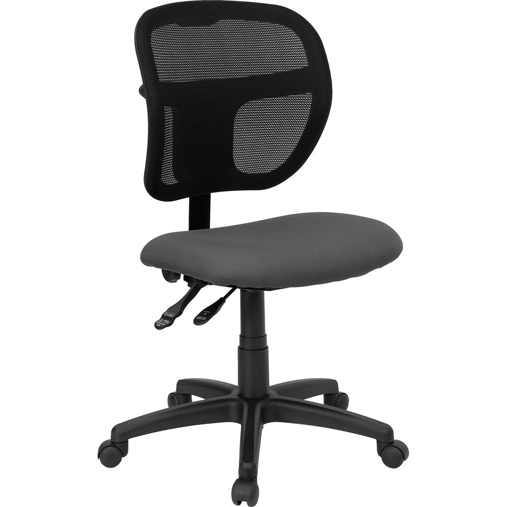 Mid-Back Gray Mesh Swivel Task Office Chair with Back Height Adjustment. Picture 1