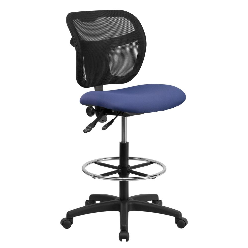 Mid-Back Navy Blue Mesh Drafting Chair with Back Height Adjustment. Picture 1