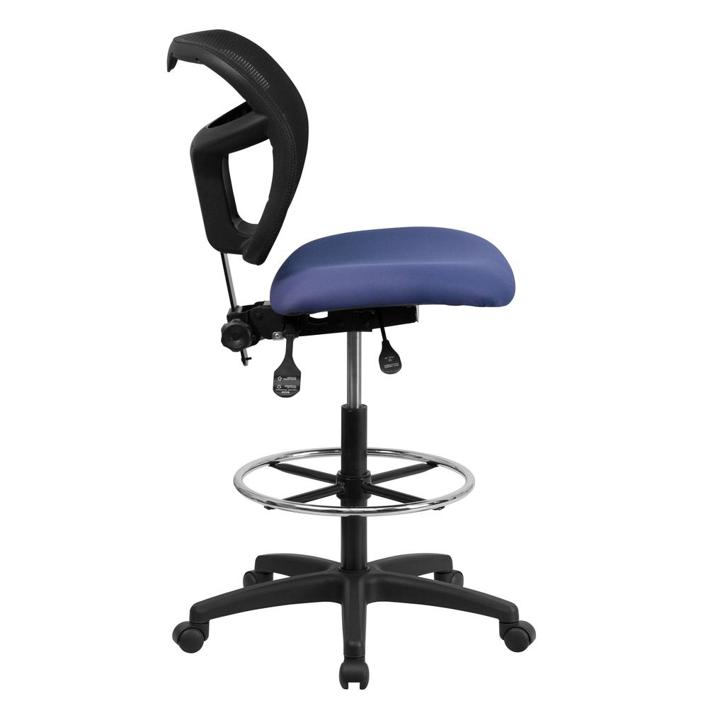 Mid-Back Navy Blue Mesh Drafting Chair with Back Height Adjustment. Picture 2