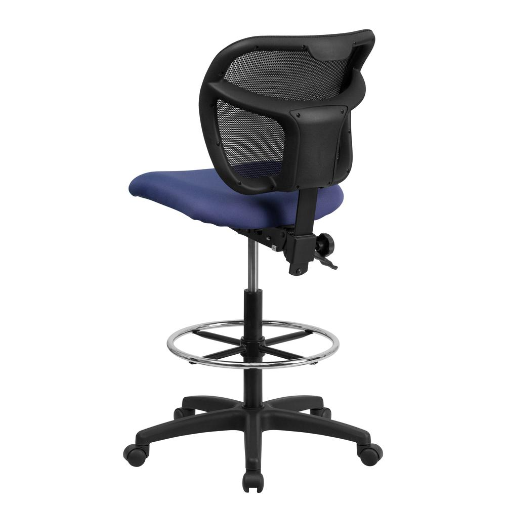 Mid-Back Navy Blue Mesh Drafting Chair with Back Height Adjustment. Picture 3