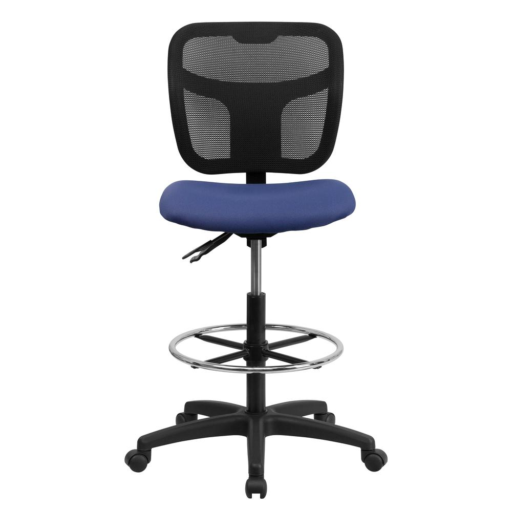 Mid-Back Navy Blue Mesh Drafting Chair with Back Height Adjustment. Picture 4