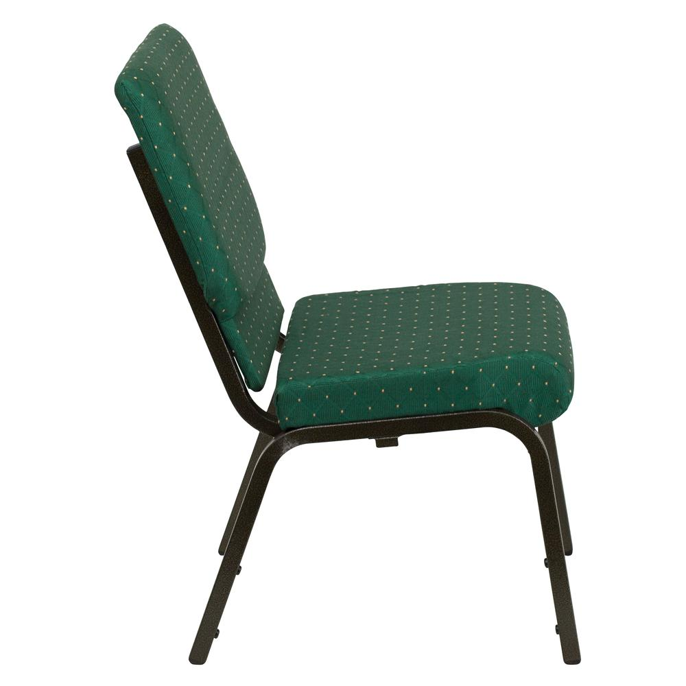 18.5''W Stacking Church Chair in Green Patterned Fabric - Gold Vein Frame. Picture 2