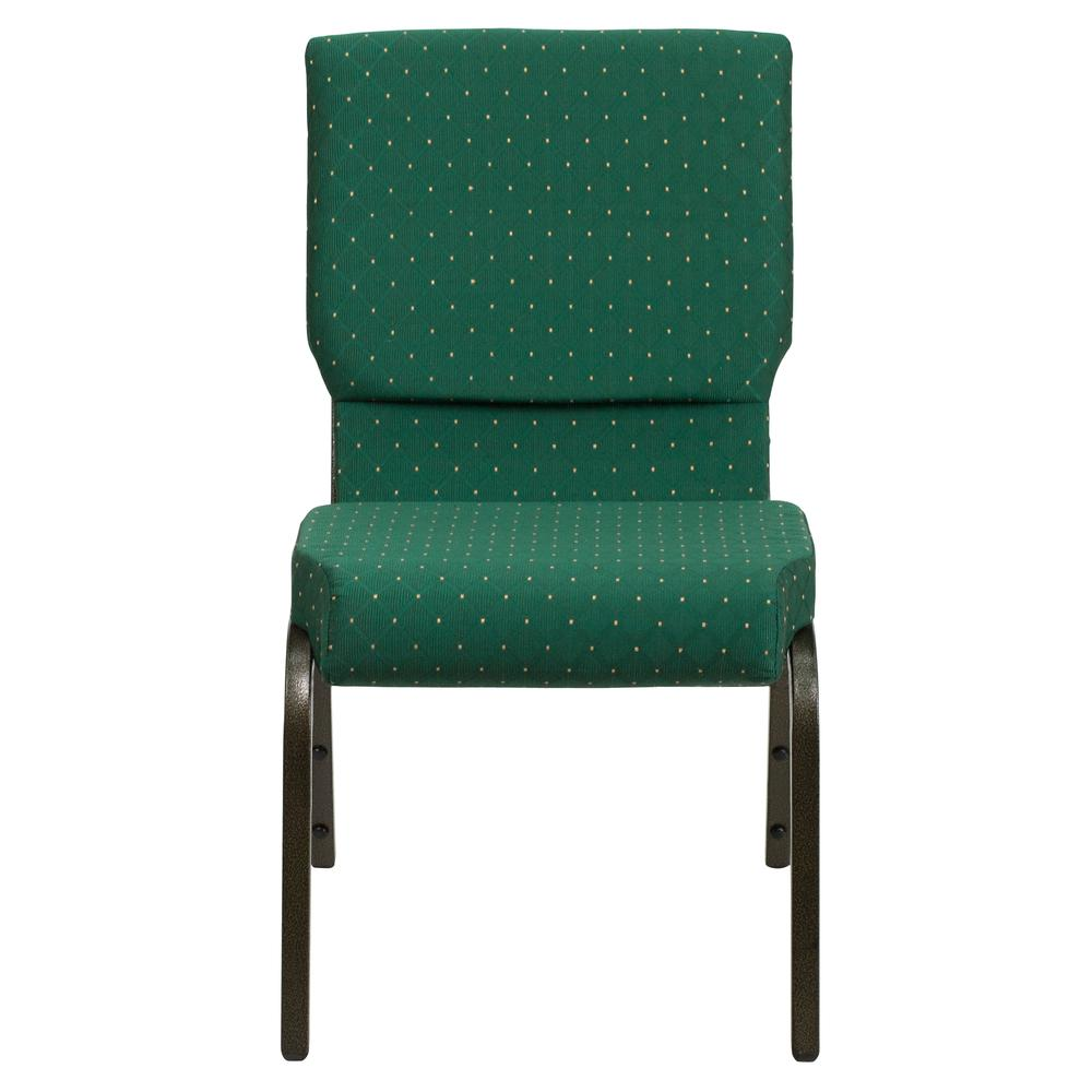 18.5''W Stacking Church Chair in Green Patterned Fabric - Gold Vein Frame. Picture 4