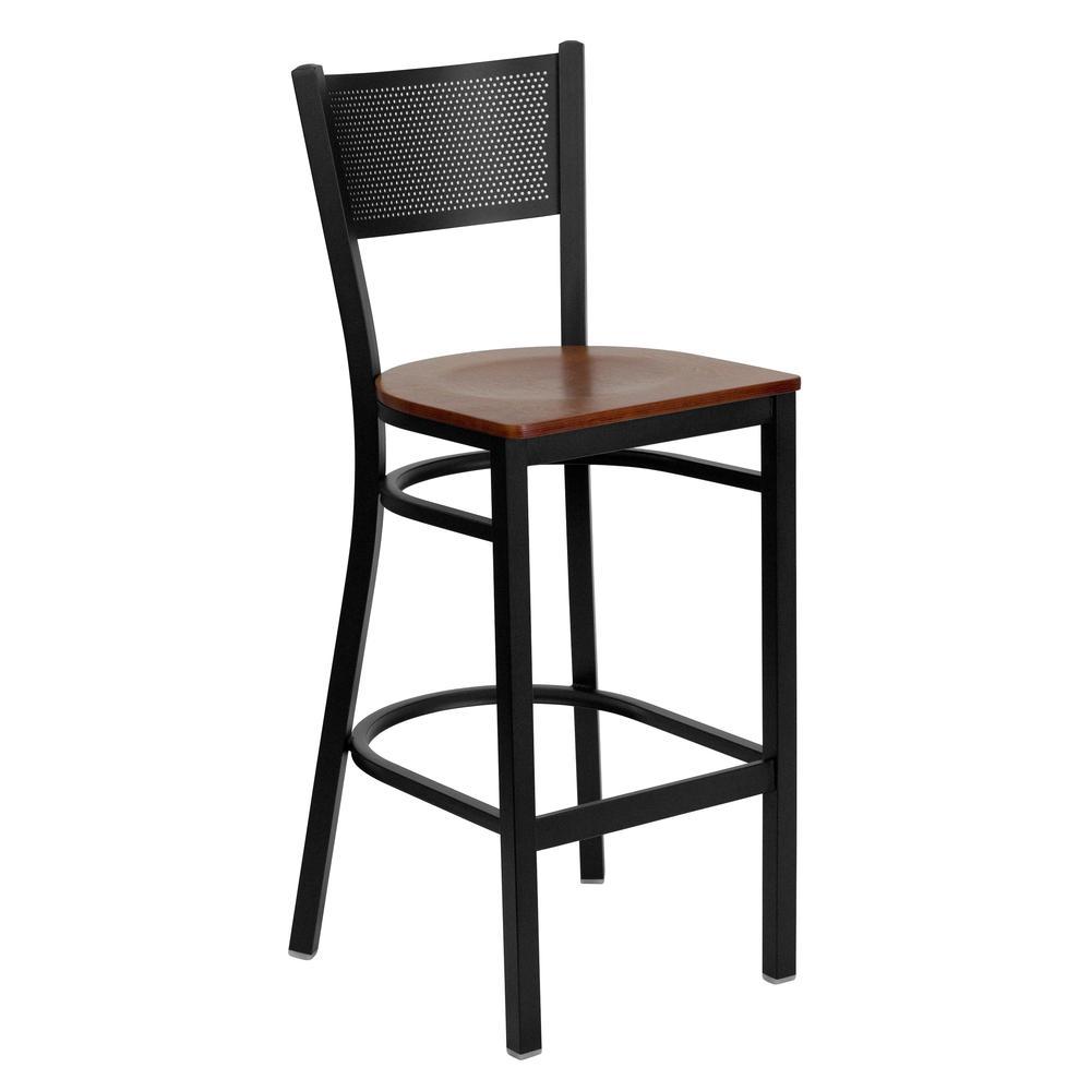 HERCULES Series Black Grid Back Metal Restaurant Barstool - Cherry Wood Seat. Picture 1