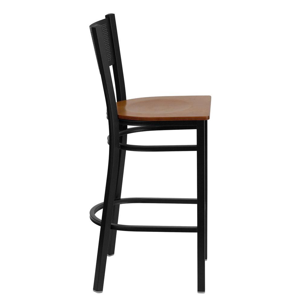 HERCULES Series Black Grid Back Metal Restaurant Barstool - Cherry Wood Seat. Picture 2