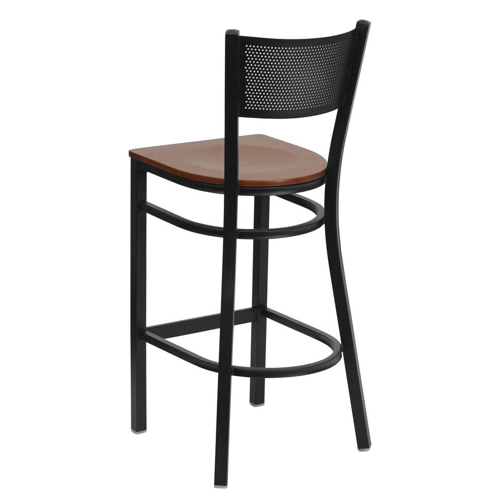 HERCULES Series Black Grid Back Metal Restaurant Barstool - Cherry Wood Seat. Picture 3