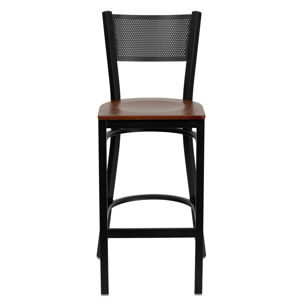 HERCULES Series Black Grid Back Metal Restaurant Barstool - Cherry Wood Seat. Picture 4