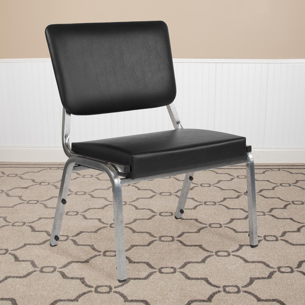 1500 lb. Rated Black Antimicrobial Vinyl Bariatric Medical Reception Chair with 3/4 Panel Back. Picture 5