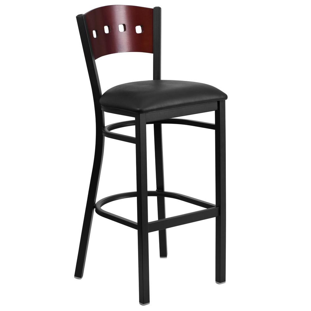 HERCULES Series Black 4 Square Back Metal Restaurant Barstool - Mahogany Wood Back, Black Vinyl Seat. Picture 1