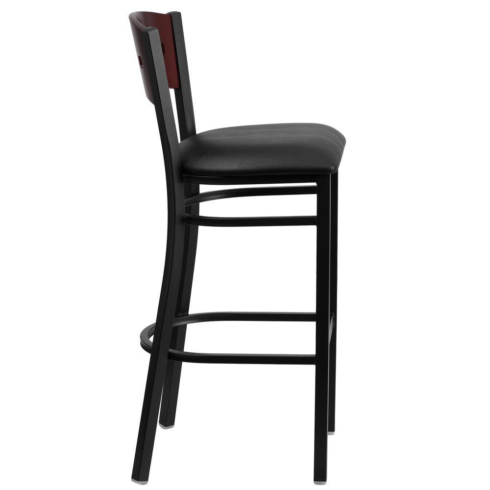 HERCULES Series Black 4 Square Back Metal Restaurant Barstool - Mahogany Wood Back, Black Vinyl Seat. Picture 2