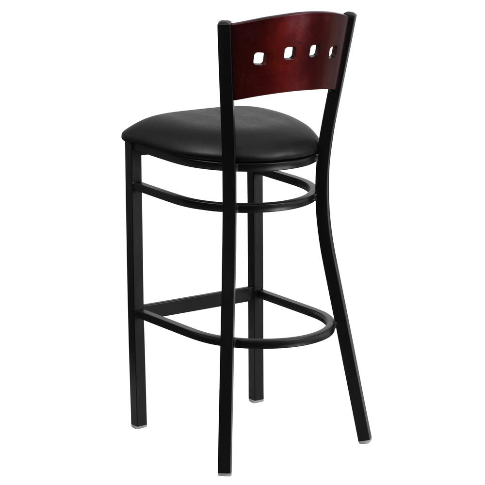 HERCULES Series Black 4 Square Back Metal Restaurant Barstool - Mahogany Wood Back, Black Vinyl Seat. Picture 3