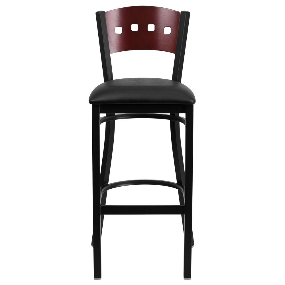 HERCULES Series Black 4 Square Back Metal Restaurant Barstool - Mahogany Wood Back, Black Vinyl Seat. Picture 4