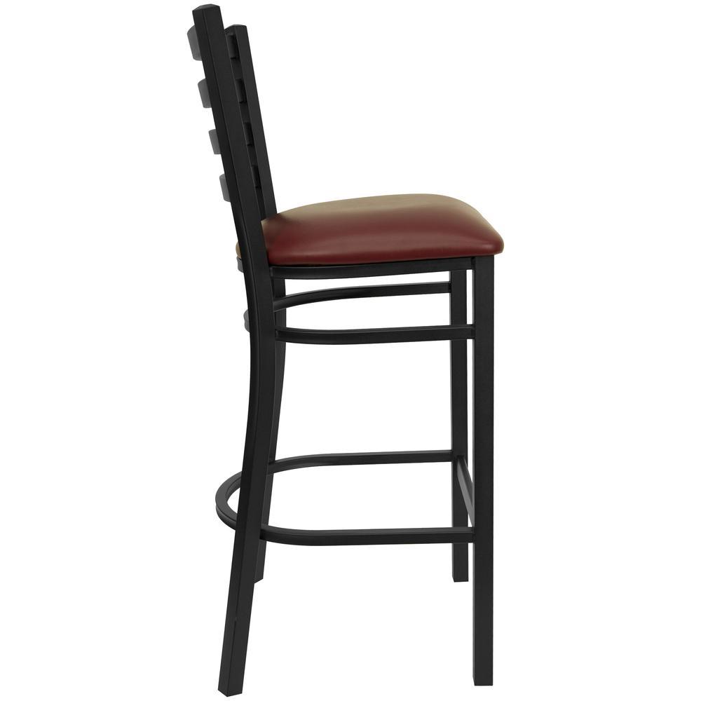 HERCULES Series Black Ladder Back Metal Restaurant Barstool - Burgundy Vinyl Seat. Picture 2