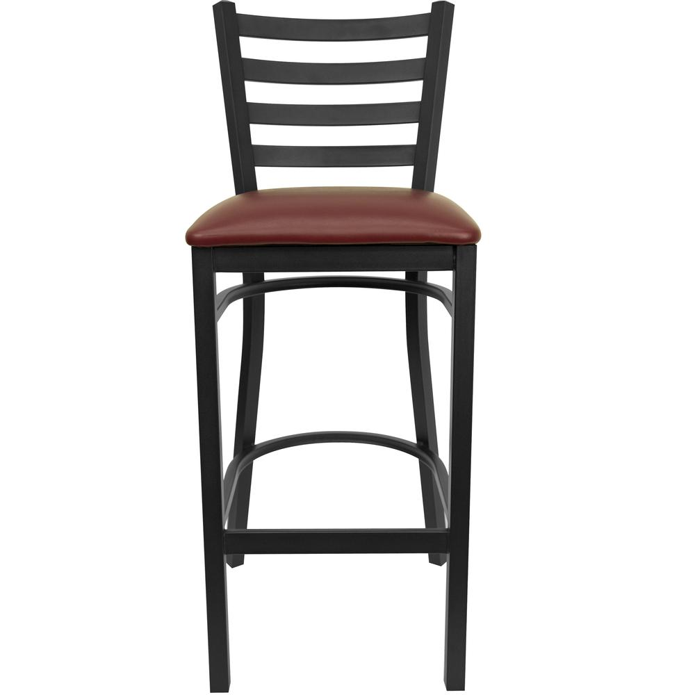 HERCULES Series Black Ladder Back Metal Restaurant Barstool - Burgundy Vinyl Seat. Picture 4
