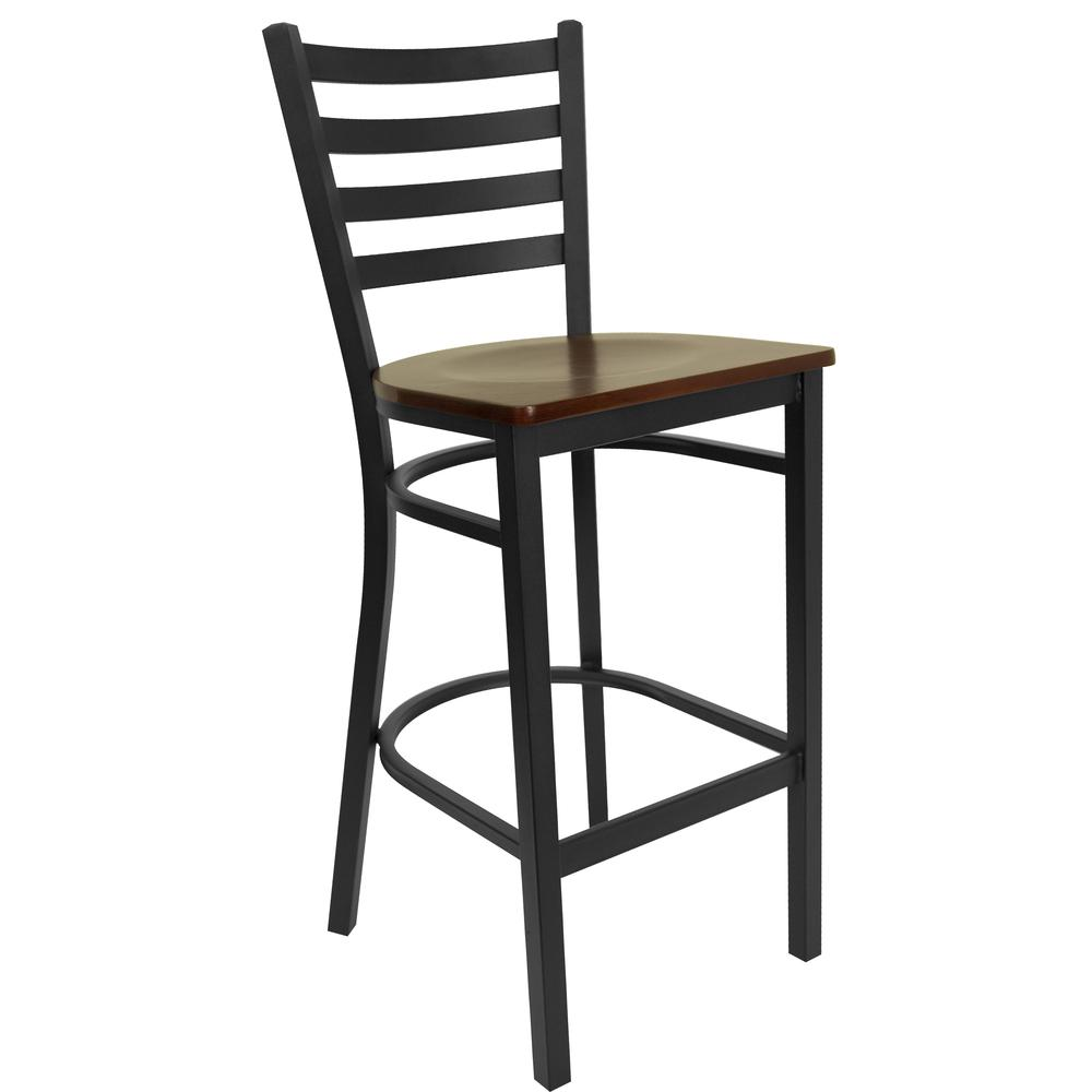 HERCULES Series Black Ladder Back Metal Restaurant Barstool - Mahogany Wood Seat. Picture 1