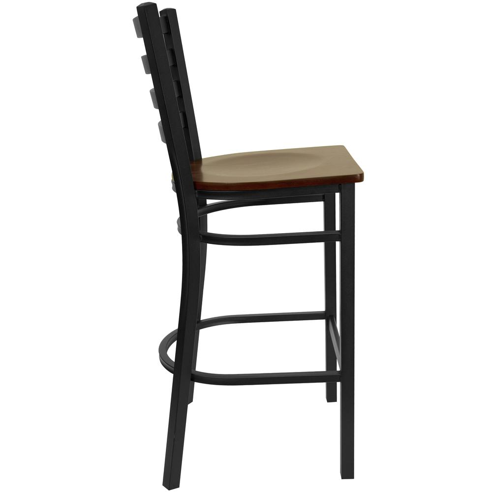 HERCULES Series Black Ladder Back Metal Restaurant Barstool - Mahogany Wood Seat. Picture 2