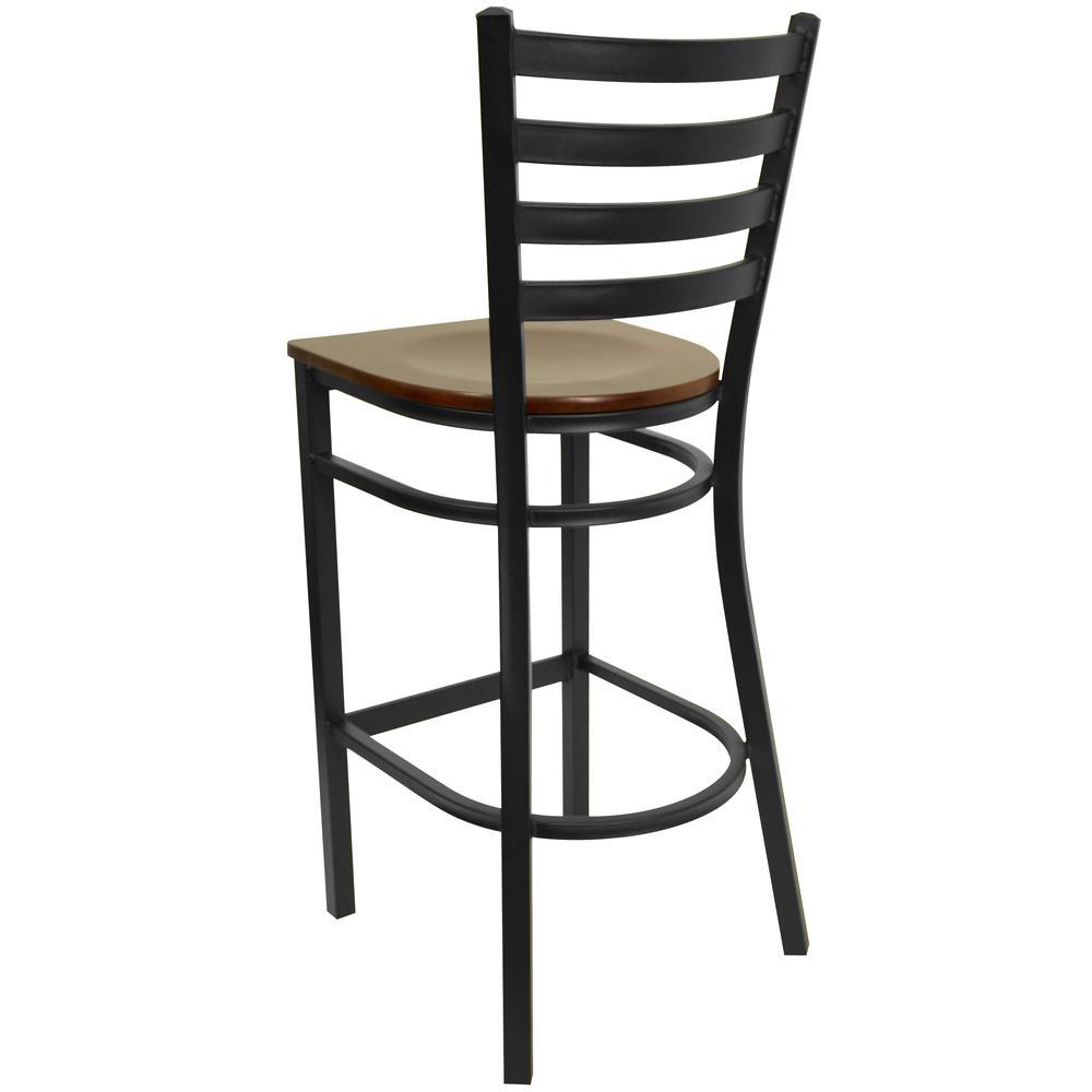 HERCULES Series Black Ladder Back Metal Restaurant Barstool - Mahogany Wood Seat. Picture 3