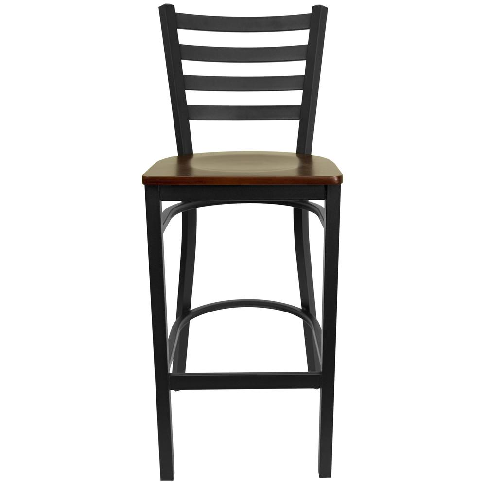 HERCULES Series Black Ladder Back Metal Restaurant Barstool - Mahogany Wood Seat. Picture 4