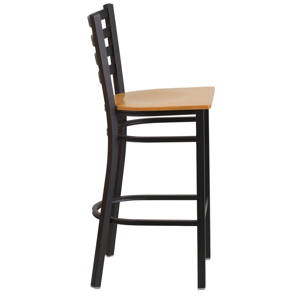Black Ladder Back Swivel Metal Bar Stool Natural Wood Seat