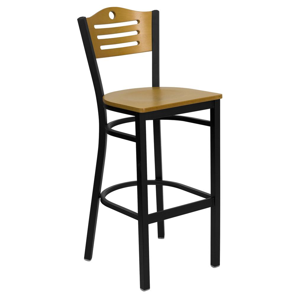 HERCULES Series Black Slat Back Metal Restaurant Barstool - Natural Wood Back & Seat. Picture 1
