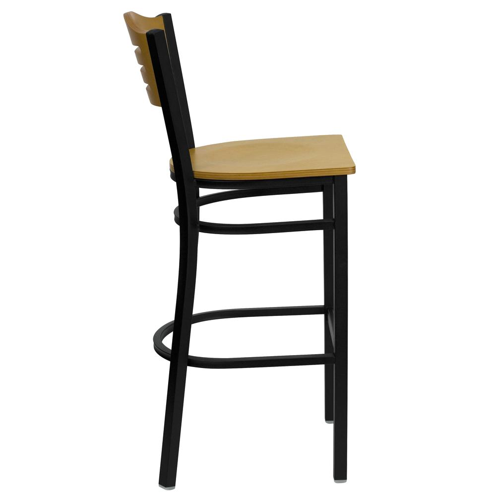 HERCULES Series Black Slat Back Metal Restaurant Barstool - Natural Wood Back & Seat. Picture 2