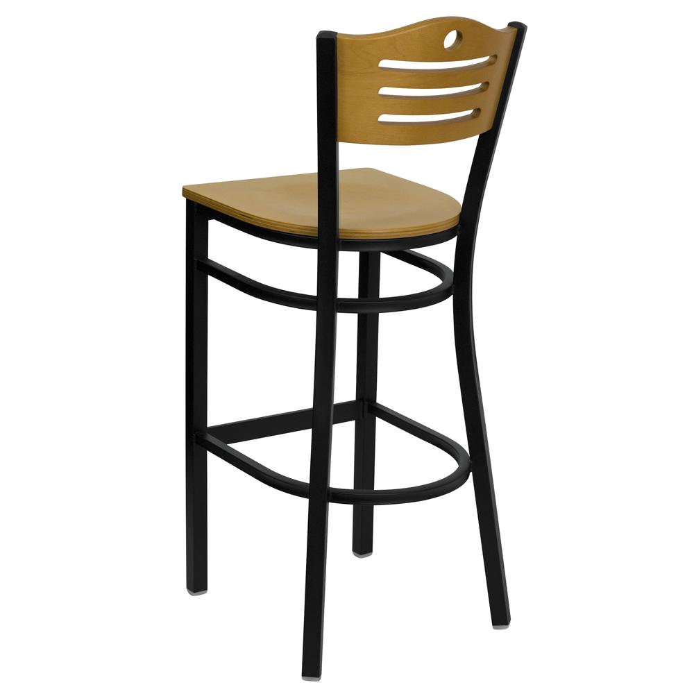 HERCULES Series Black Slat Back Metal Restaurant Barstool - Natural Wood Back & Seat. Picture 3