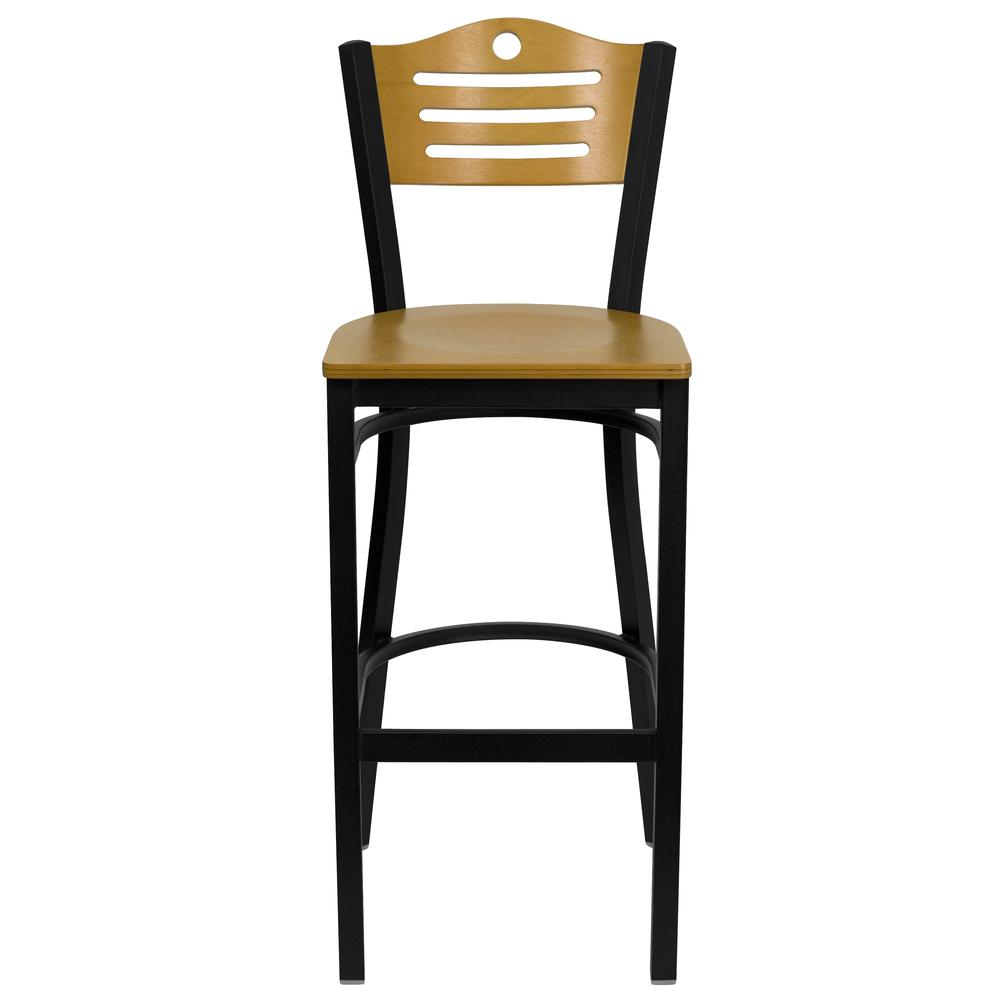HERCULES Series Black Slat Back Metal Restaurant Barstool - Natural Wood Back & Seat. Picture 4