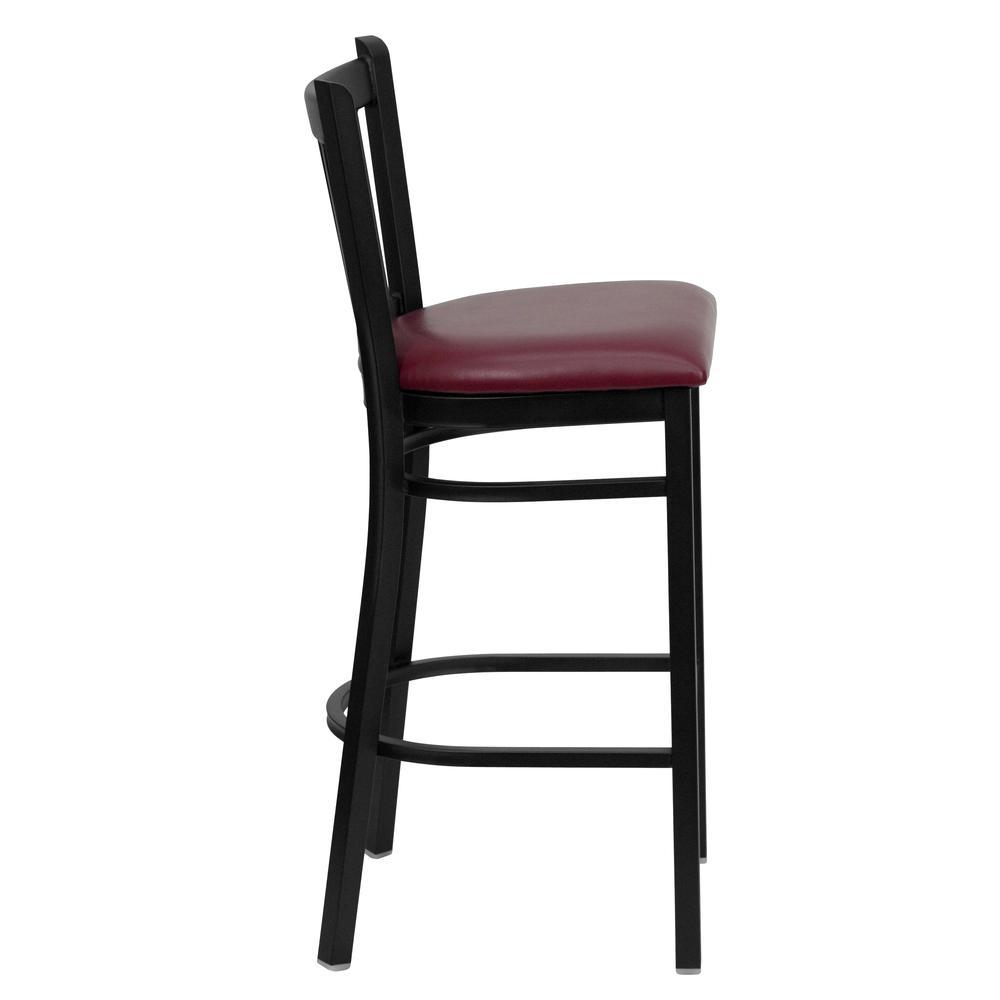 HERCULES Series Black Vertical Back Metal Restaurant Barstool - Burgundy Vinyl Seat. Picture 2