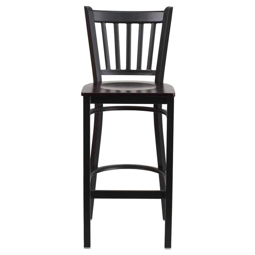HERCULES Series Black Vertical Back Metal Restaurant Barstool - Walnut Wood Seat. Picture 4