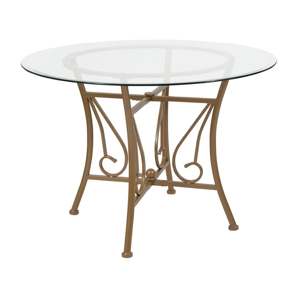 42'' Round Glass Dining Table with Curl Accent Matte Gold Metal Frame. Picture 1