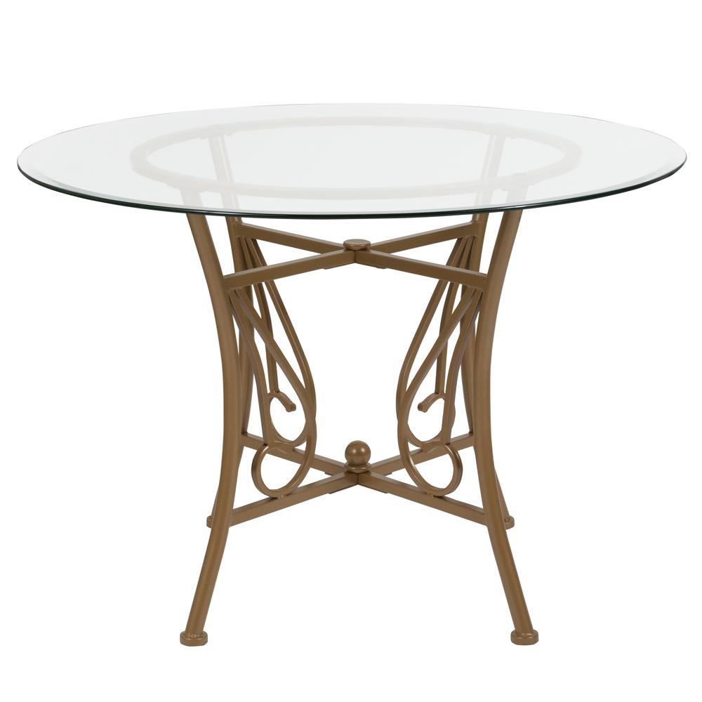 42'' Round Glass Dining Table with Curl Accent Matte Gold Metal Frame. Picture 2