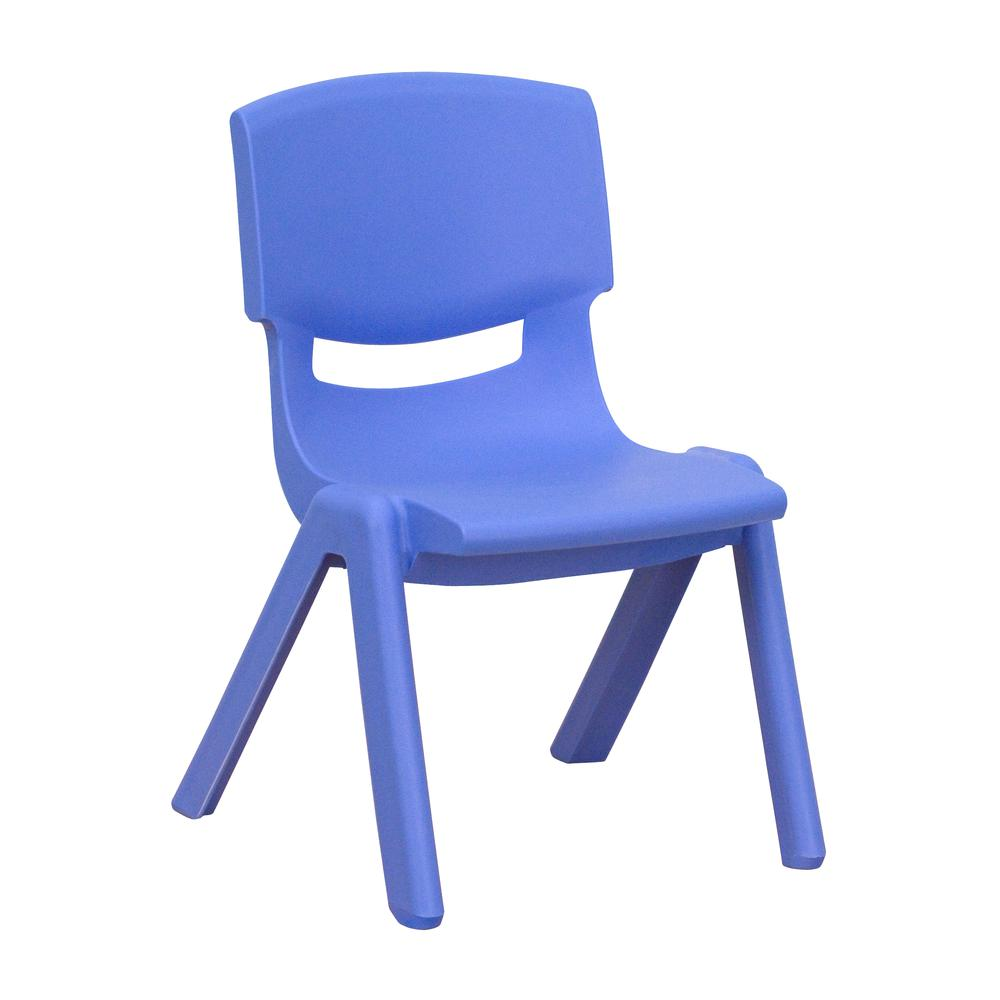 Blue Plastic Stackable School Chair with 10.5'' Seat Height