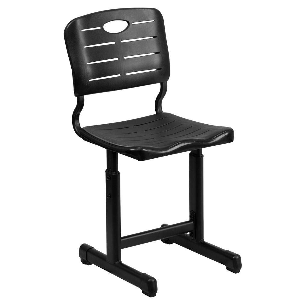 Adjustable Height Black Student Chair With Black Pedestal