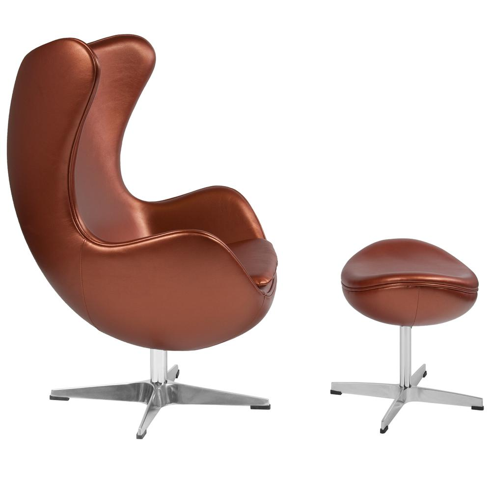 Similar Products  sc 1 st  Bison Office & Copper Leather Egg Chair with Tilt-Lock Mechanism and Ottoman