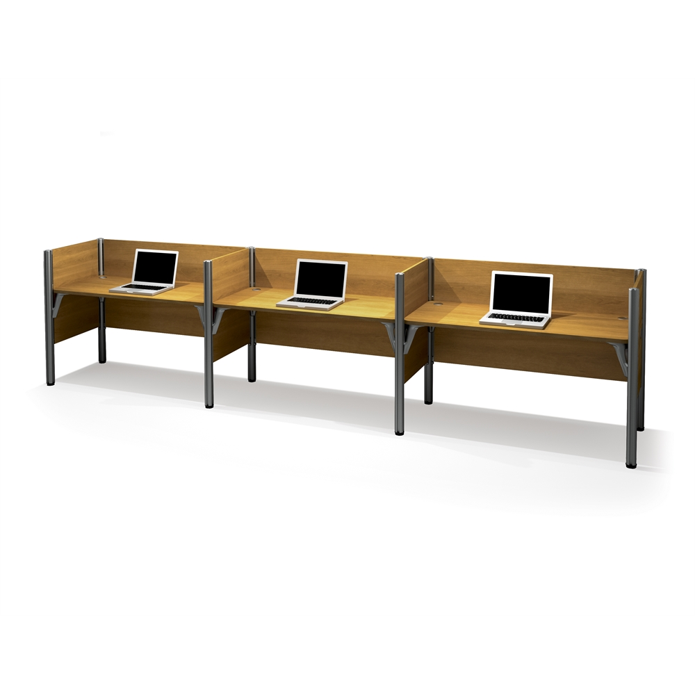 Pro Biz Triple Side By Side Workstation In Cappuccino Cherry