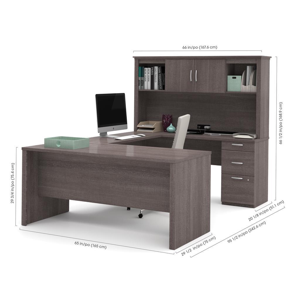 Logan U-Shaped Desk in Bark Gray