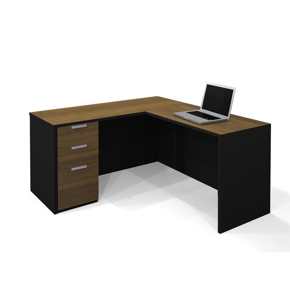 Pro Concept L Shaped Workstation In Milk Chocolate Bamboo