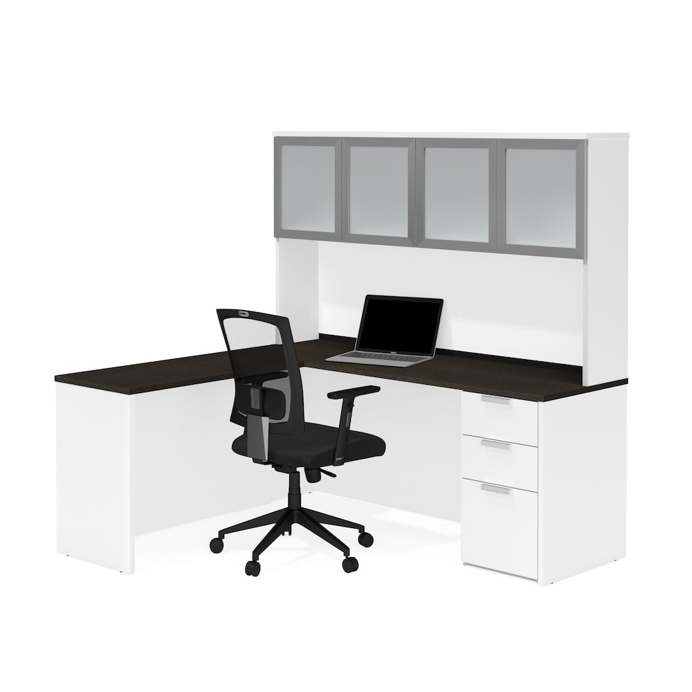 Pro Concept Plus L Desk With Frosted Glass Door Hutch In