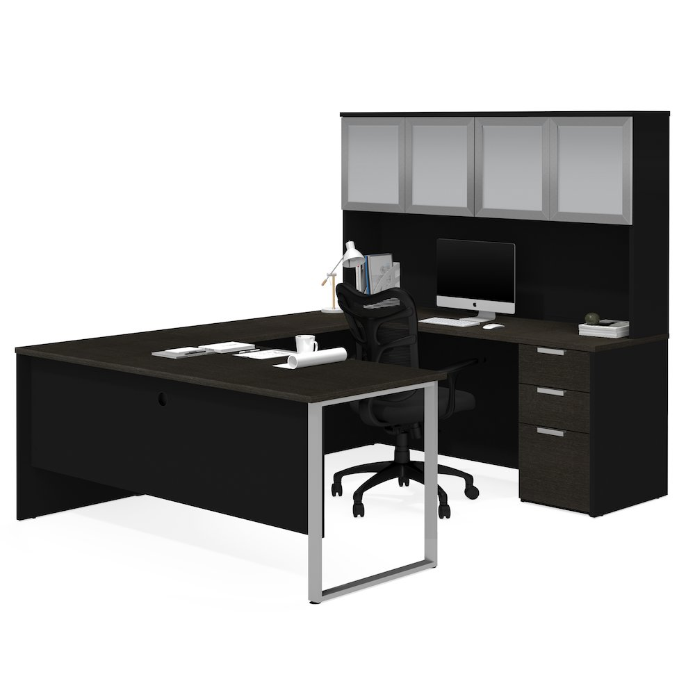 Pro Concept Plus U Desk With Frosted Glass Door Hutch In