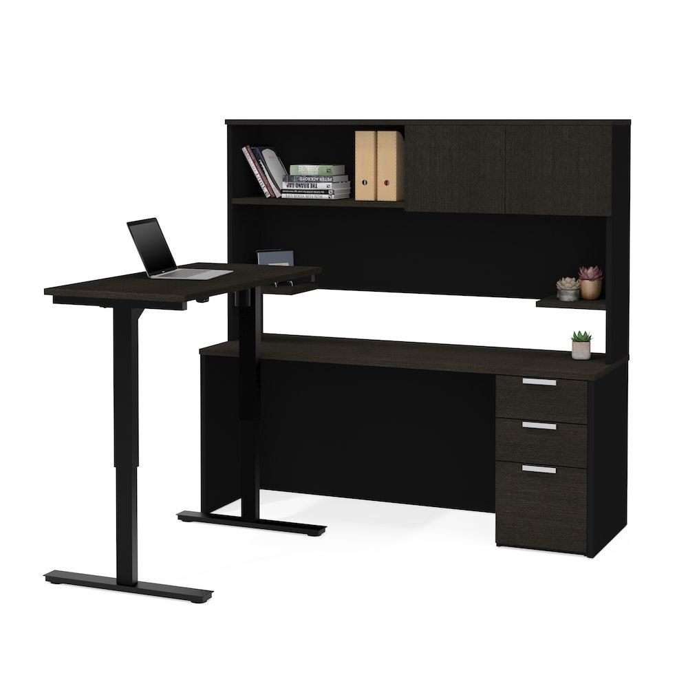 Pro Concept Plus Height Adjustable L Desk With Hutch In