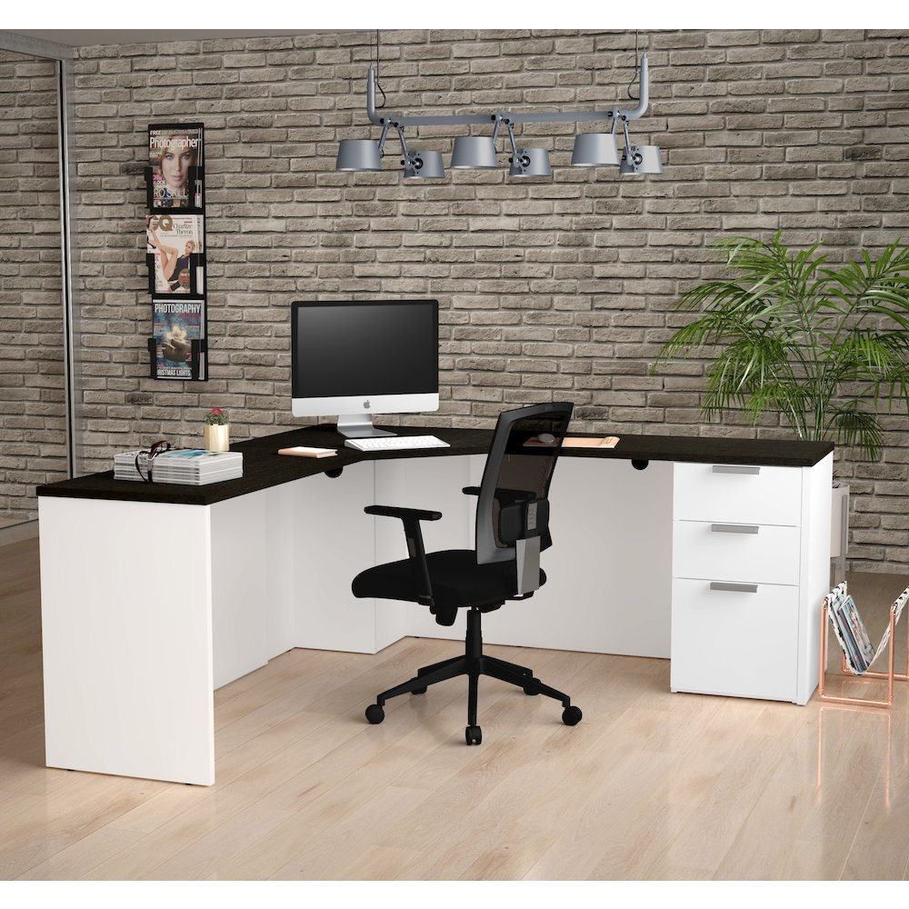 Pro Concept Plus Corner Desk In White Amp Deep Grey