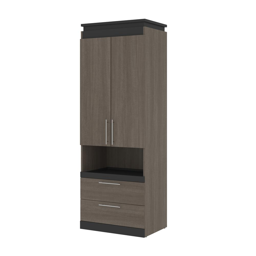 Orion  30W 30W Storage Cabinet with Pull-Out Shelf in bark gray and graphite. Picture 1