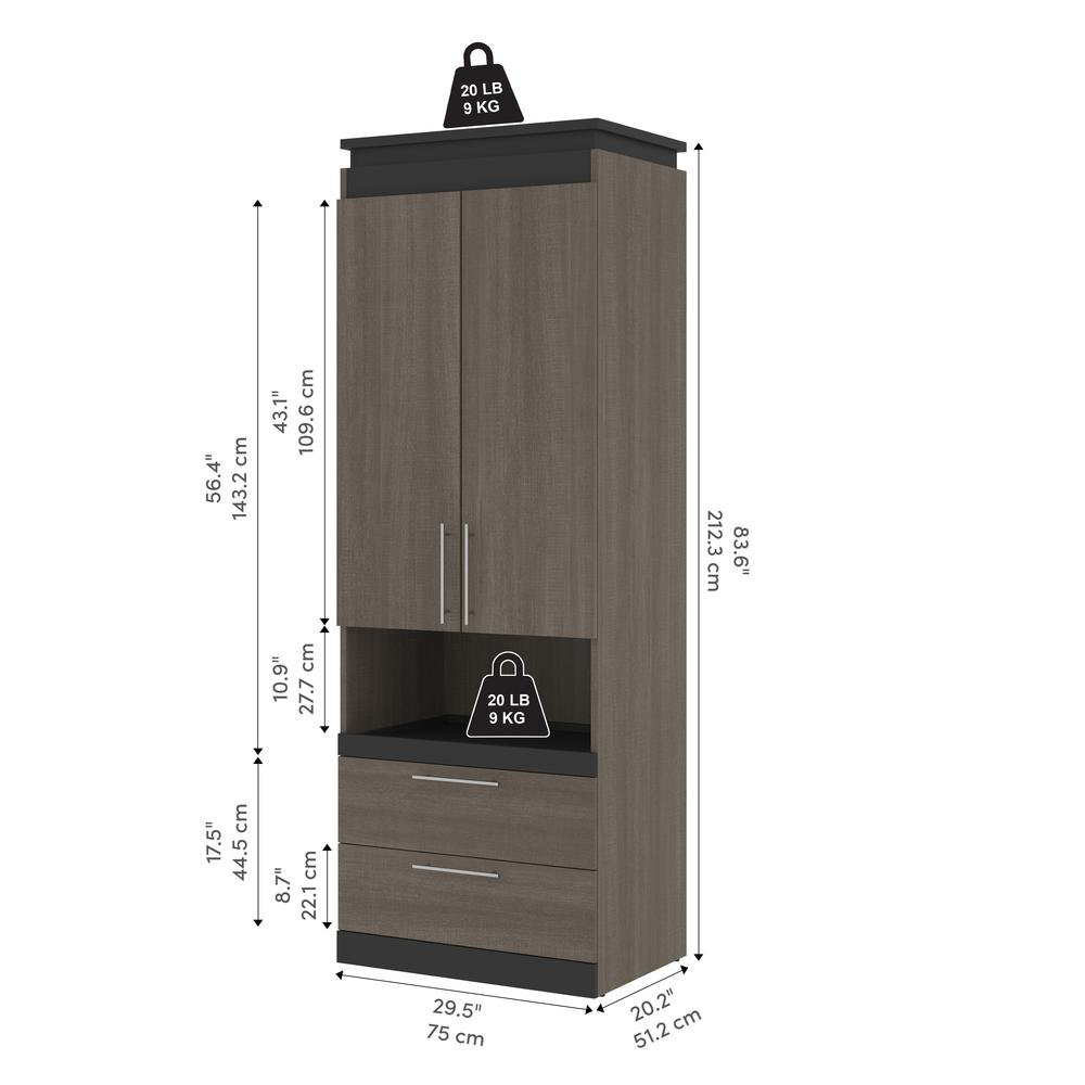 Orion  30W 30W Storage Cabinet with Pull-Out Shelf in bark gray and graphite. Picture 3