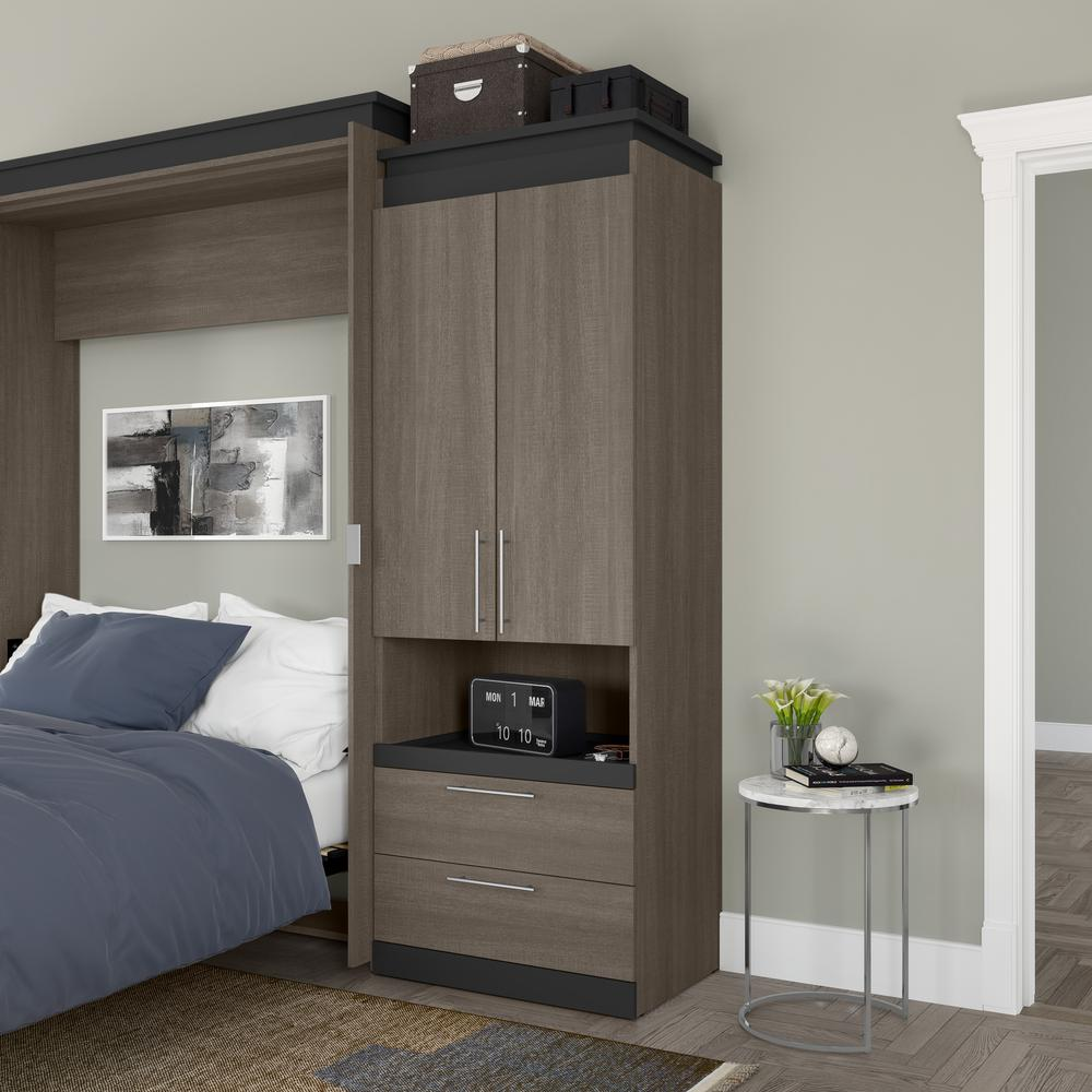 Orion  30W 30W Storage Cabinet with Pull-Out Shelf in bark gray and graphite. Picture 10