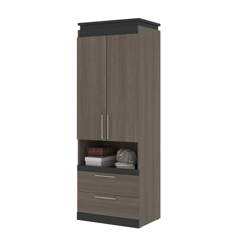 Orion  30W 30W Storage Cabinet with Pull-Out Shelf in bark gray and graphite. Picture 11
