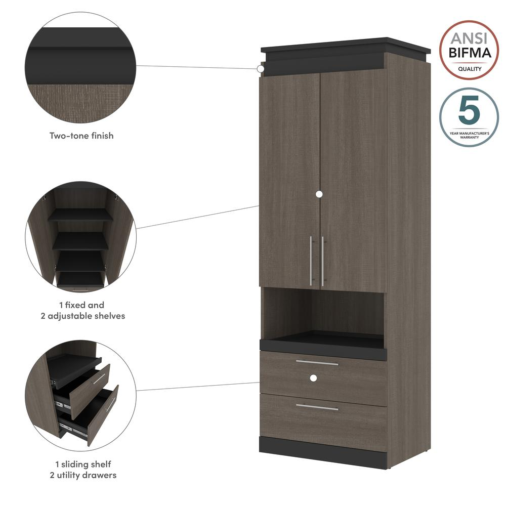 Orion  30W 30W Storage Cabinet with Pull-Out Shelf in bark gray and graphite. Picture 12